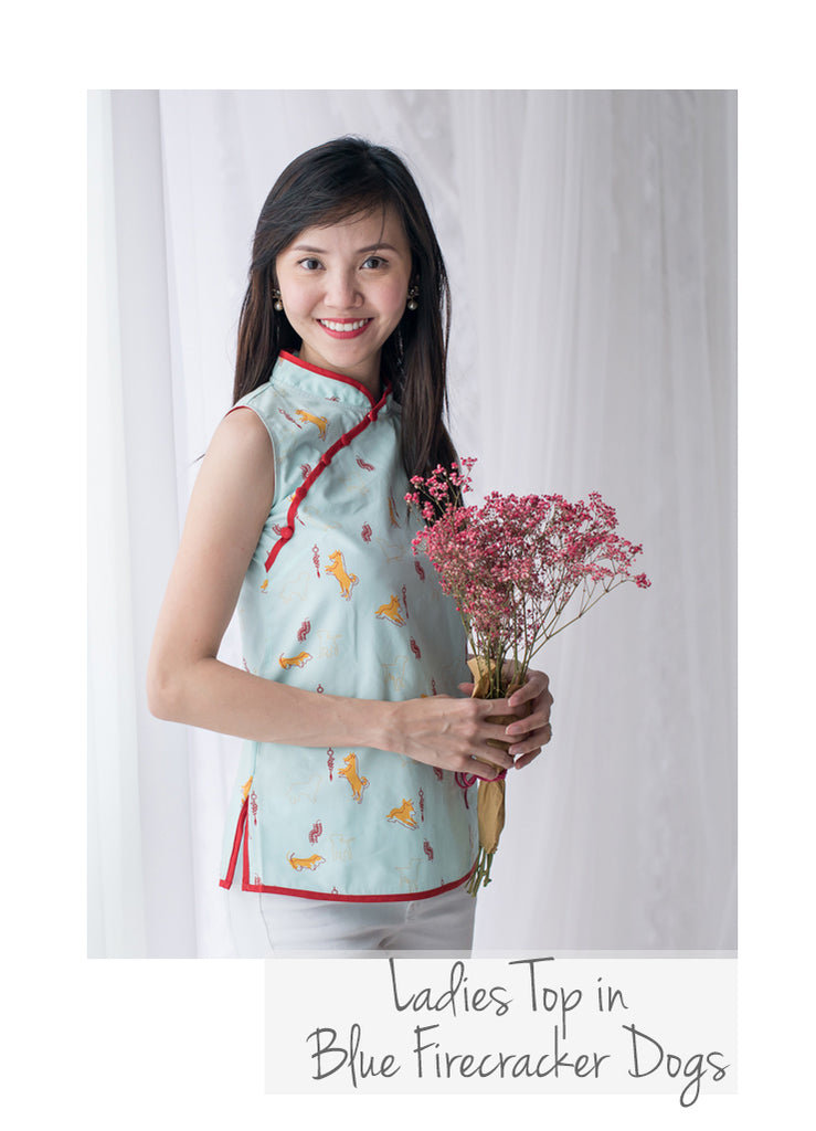 Ladies Cheongsam Top Blue Firecracker Dog
