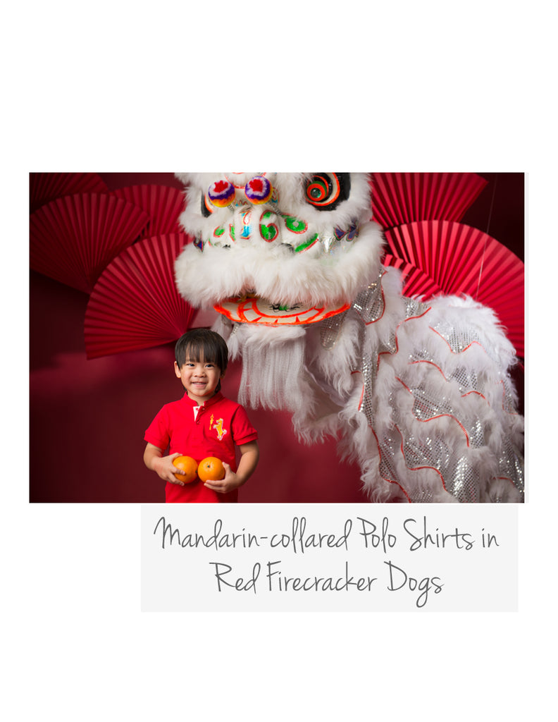 Mandarin-collared Polo Red Firecracker Dogs