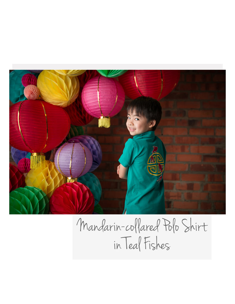 Mandarin-collared Polo Shirt Teal Fishes