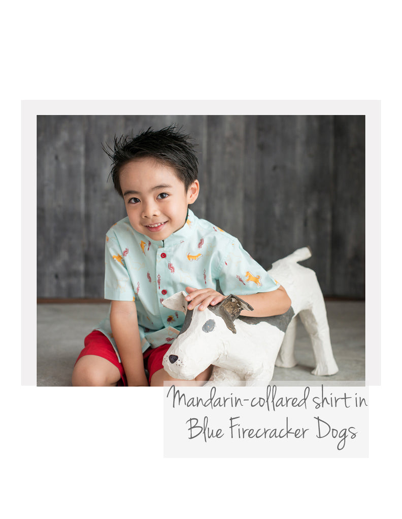 Mandarin-collared shirt Blue Firecracker Dogs