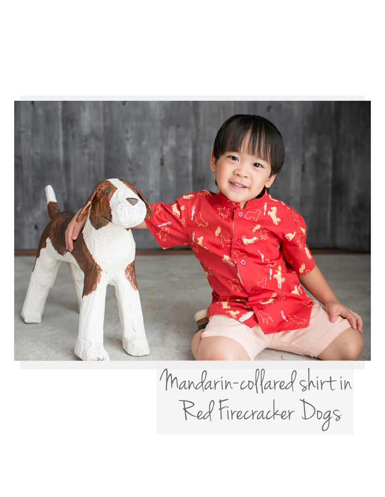 Mandarin-collared shirt Red Firecracker Dogs