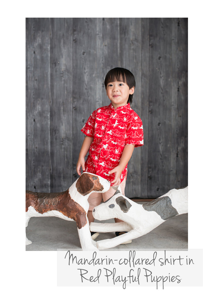 Mandarin-collared Shirt Red Playful Puppies
