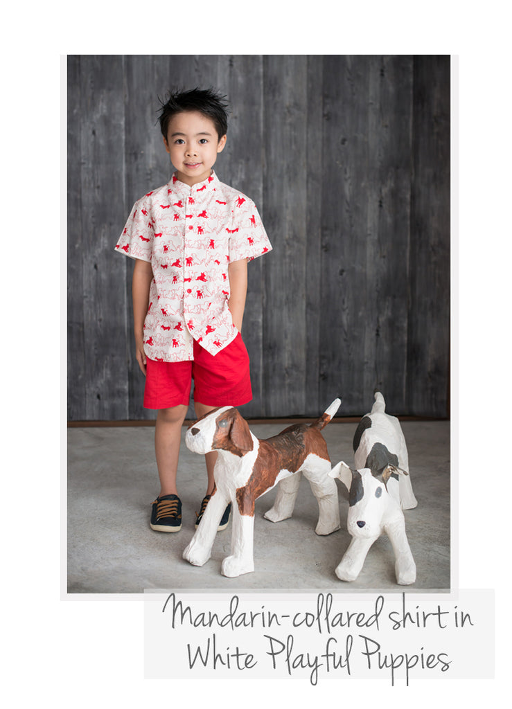 Mandarin-collared Shirt White Playful Puppies