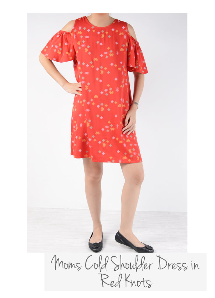 Moms Drop Waist Cheongsam Red Knots