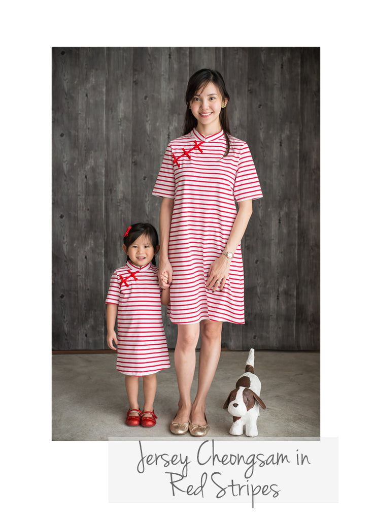 Moms Jersey Red Striped Cheongsams