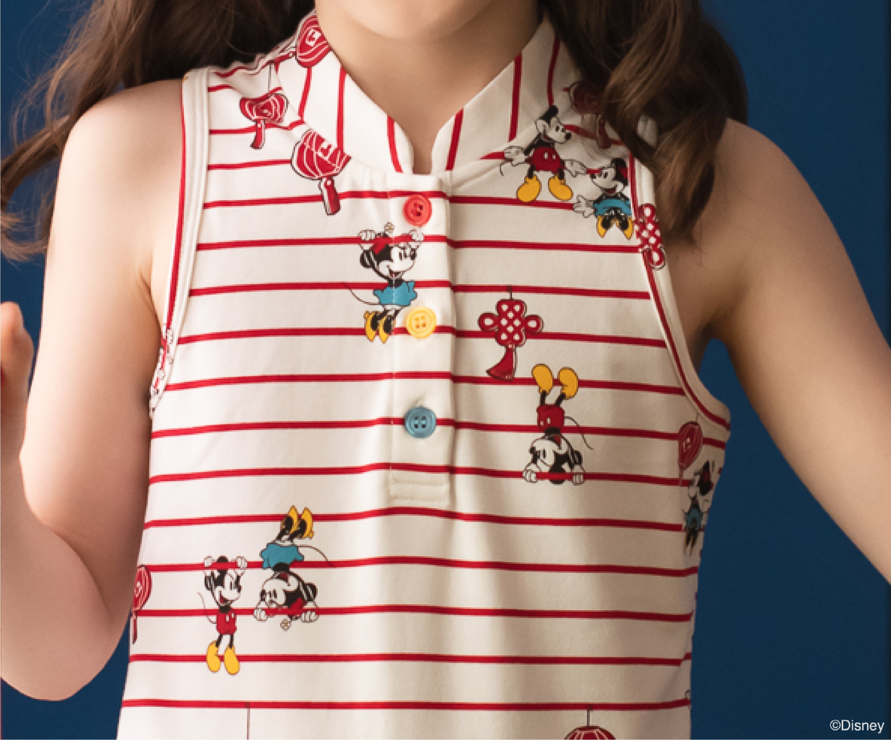 Cheongsam White Stripes Mickey | The elly Store