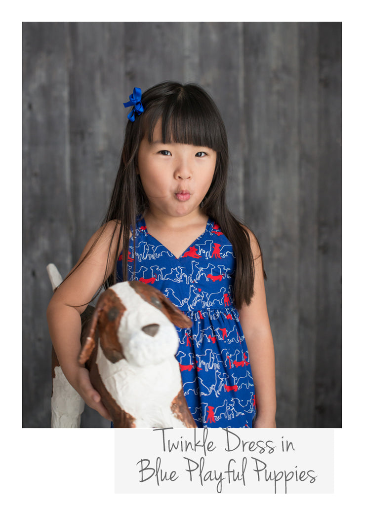 Twinkle Dress Blue Playful Puppies