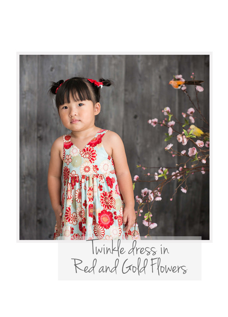 Twinkle Red Gold Flowers