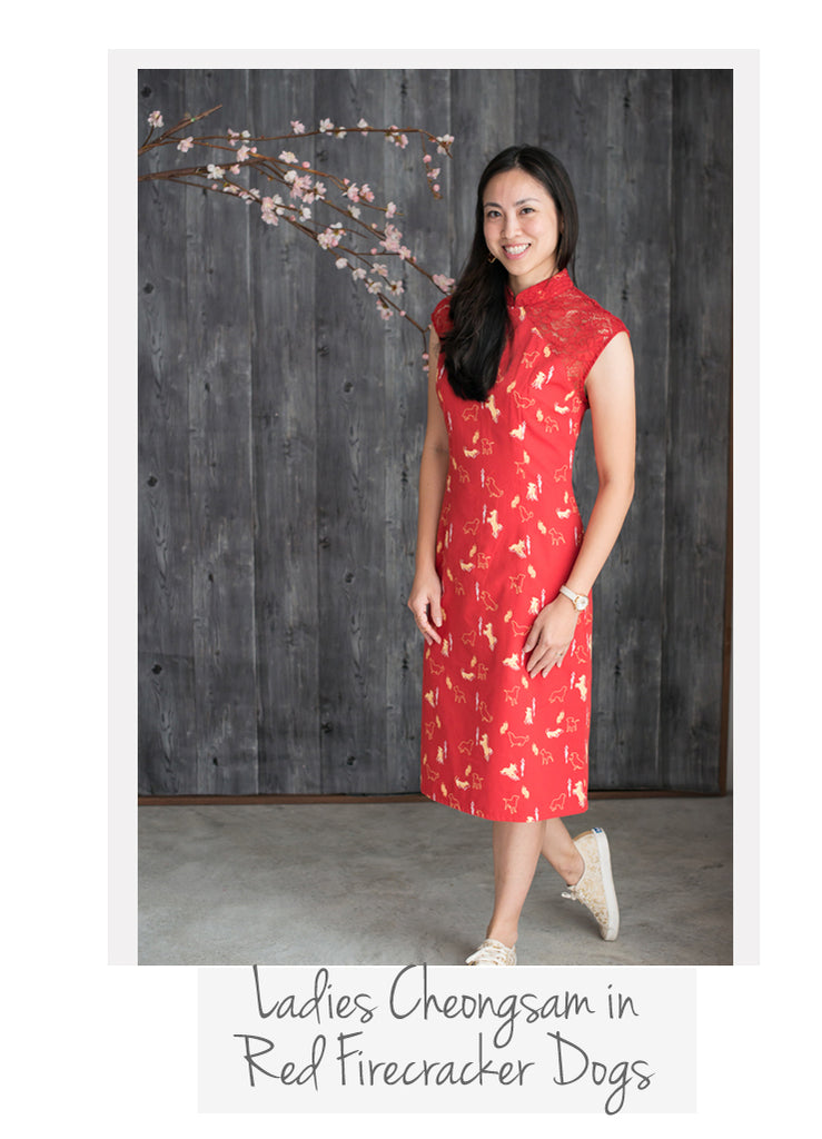 Ladies Cheongsam Red Firecracker Dogs