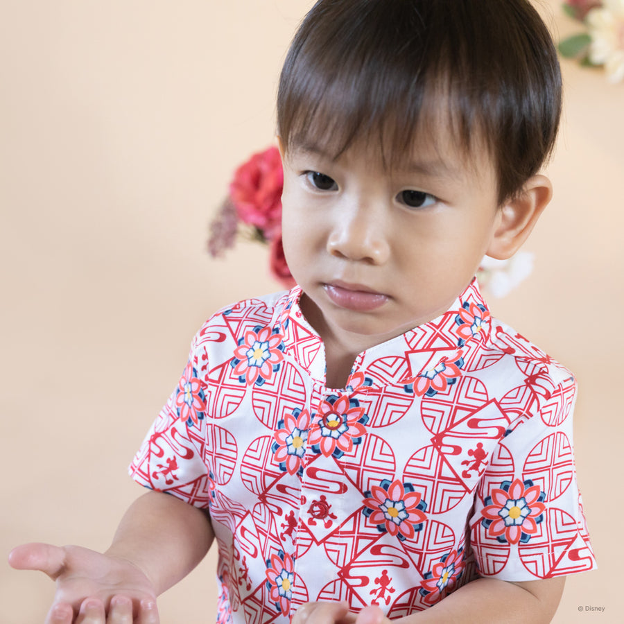 Mandarin-collared Romper - Red Dancheong Mickey