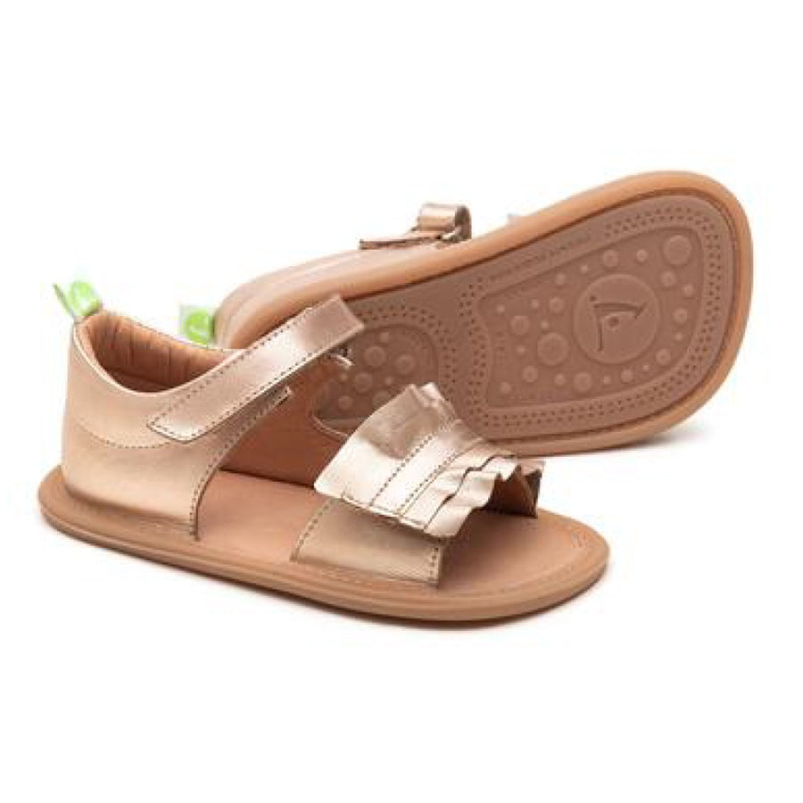 Ruffy Sandal - Metallic Salmon