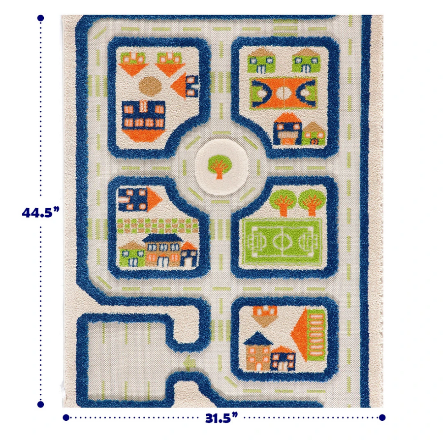 3D Play Rug - Traffic Blue (Small)
