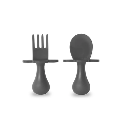 Self-Feeding Fork and Spoon Set - Gray Grabease