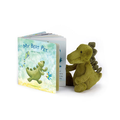 Jellycat Books Dino Soft Toy reading 'My Best Pet' | Buy Jellycat Books online for early readers at The Elly Store Singapore