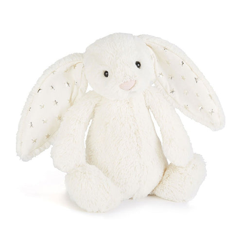 Jellycate Bashful Twinkle Bunny in White with Silver stars on ears | Buy Jellycat Singapore Kids Baby Soft Toys at The Elly Store