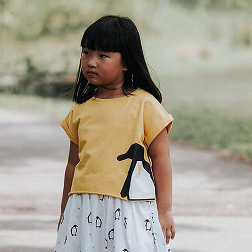 Crop Top Yellow Penguins Elly Kids Clothing