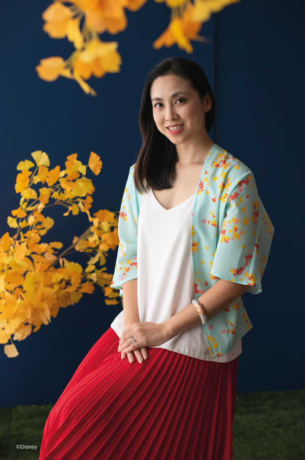 Elly CNY2020 | Ladies Kimono Top Blue Gingko Mickey