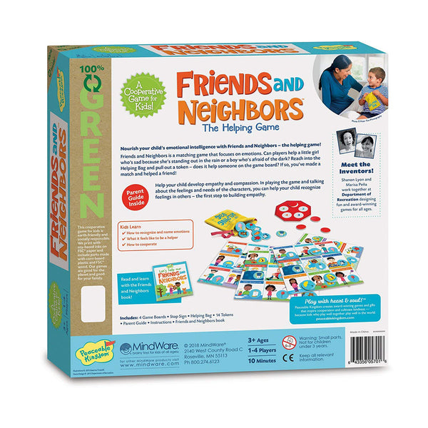 Peaceable Kingdom Friends and Neighbours Board Game Back Cover