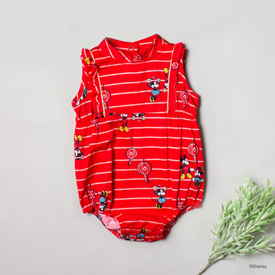 Mia Onesie - Red Stripes Mickey