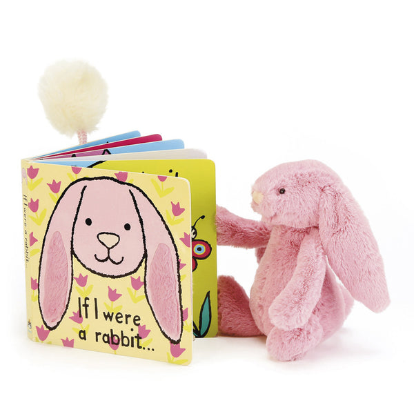Pink rabbit reading a Jellycat 'If I Were a Rabbit' Board Book in Pink | Buy Jellycat Books online for toddlers early reader at The Elly Store Singapore