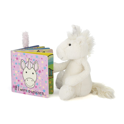 Unicorn reading a Jellycat 'If I Were a Unicorn' Board Book | Buy Jellycat Books online for toddlers early readers at The Elly Store Singapore