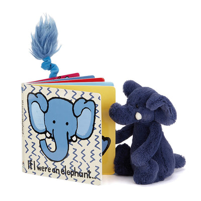 Elephant reading a Jellycat 'If I Were an Elephant' Board Book | Buy Jellycat Books online for toddlers early reader at The Elly Store Singapore