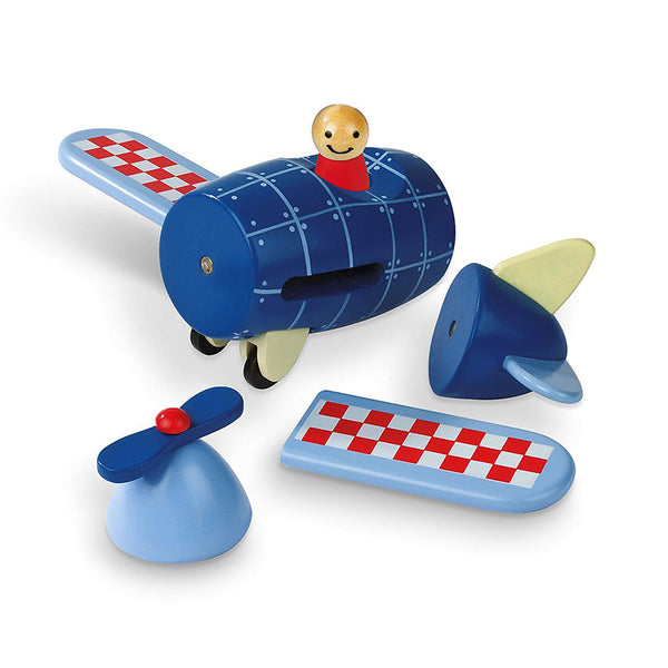 janod magnetic airplane wooden toy separated pieces