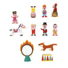 janod mini story circus clown acrobats horse tiger dancer ringmaster ring of fire podium animal tamer monkey