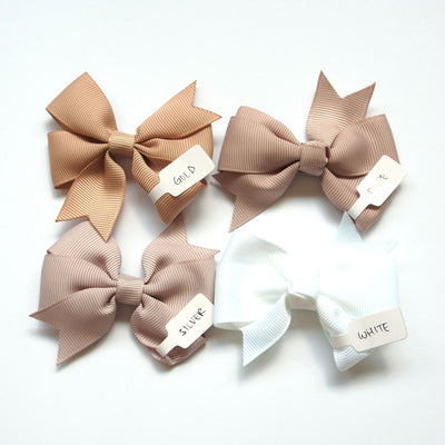 Girls Hair Bow Taupe Pinwheel Bow | The Elly Store