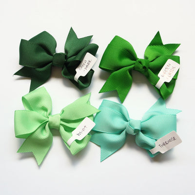 Girls Hair Bow Classic Green Pinwheel Bow | The Elly Store
