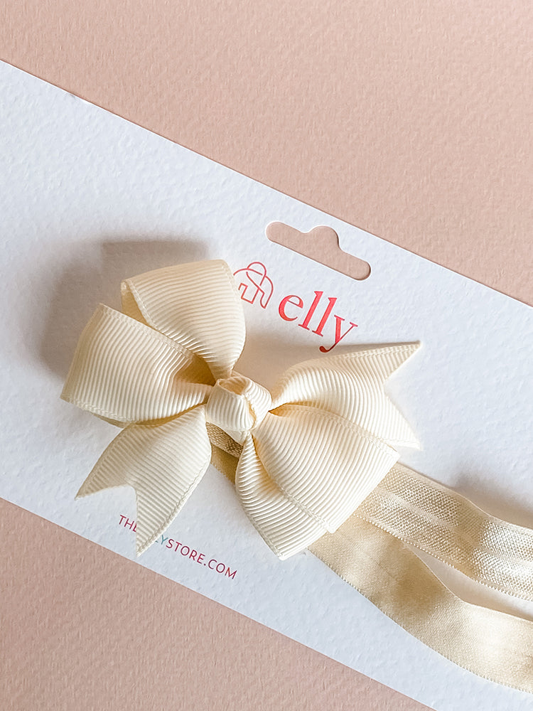Pinwheel Bow Headband - Cream