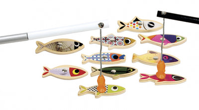janod sardine fishing game colourful wooden fish magnets