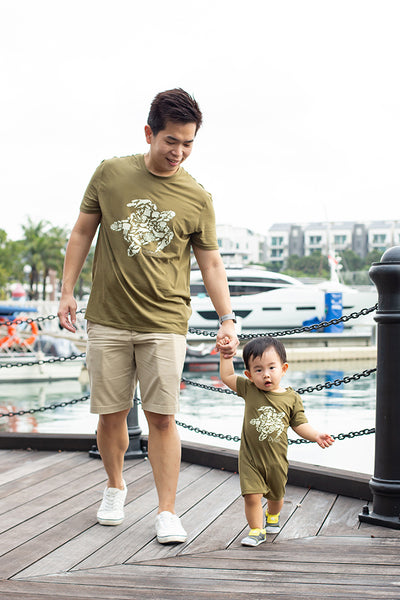 Short-Sleeve Romper Army Turtle | Baby Clothing | The Elly Store