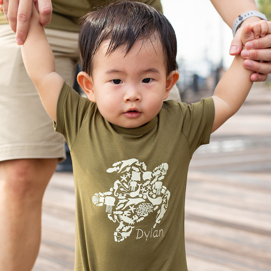 Short-Sleeve Romper Army Turtle