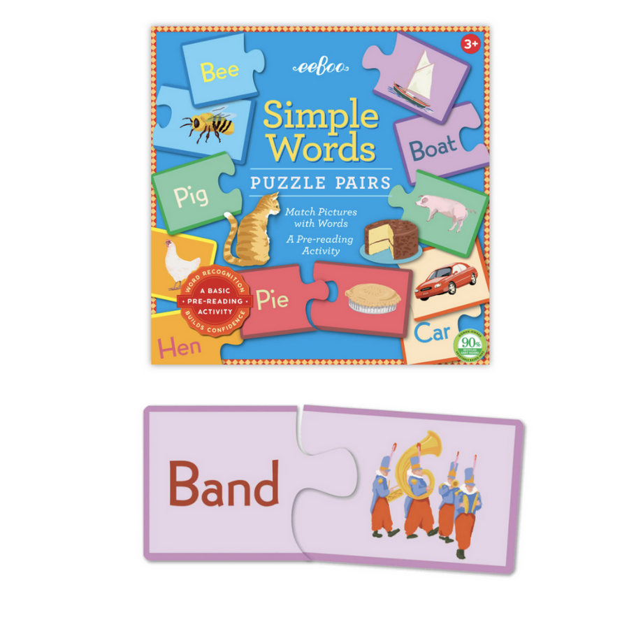 Puzzle Pairs - Simple Words (Square Box) eeBoo