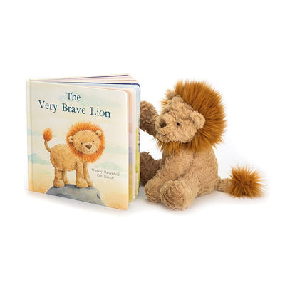 Lion reading a Jellycat 'The Very Brave Lion' Book | Buy Jellycat Books online for early reader at The Elly Store Singapore