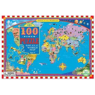 eeBoo World Map 100pc Puzzle Kids Educational Toys