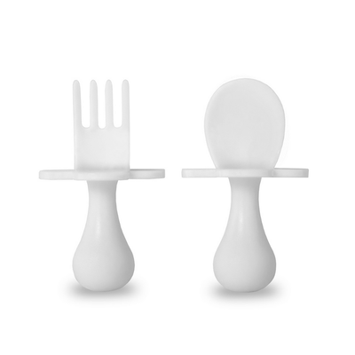 Self-Feeding Fork and Spoon Set - White Grabease
