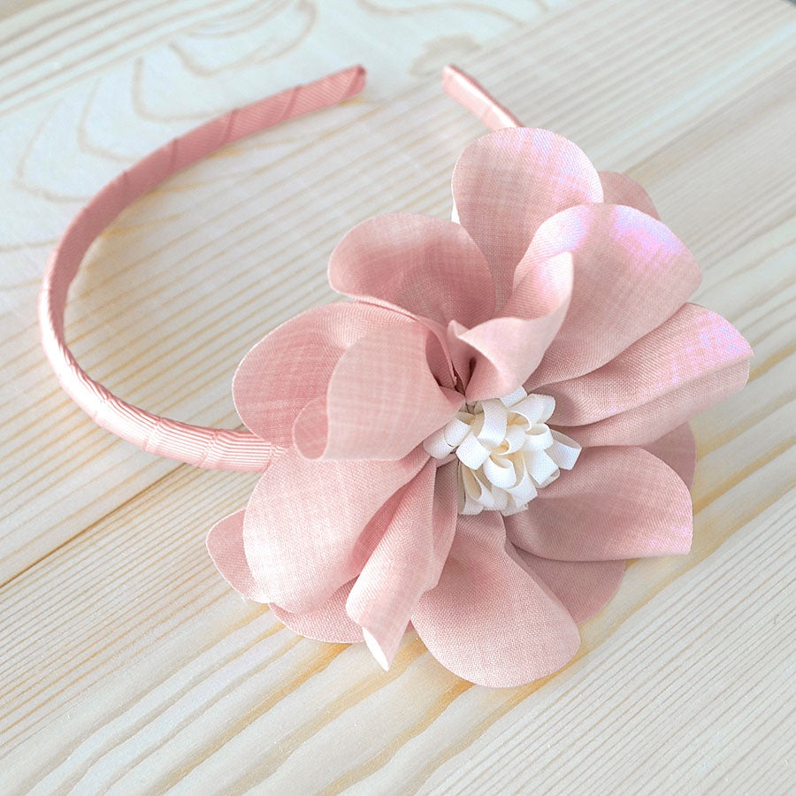 Cotton Flower Headband (Pink with Cream)