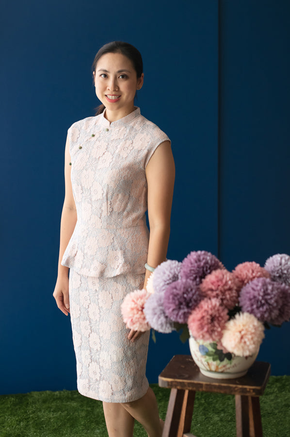 Elly CNY2020 | Ladies Peplum Cheongsam Blue/Pink Lace | The Elly Store