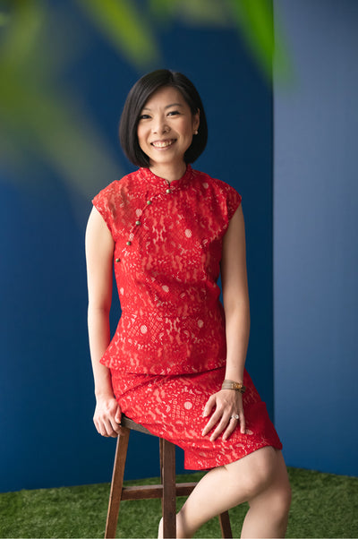 Elly CNY2020 | Ladies Peplum Cheongsam Red/Pink Lace | The Elly Store