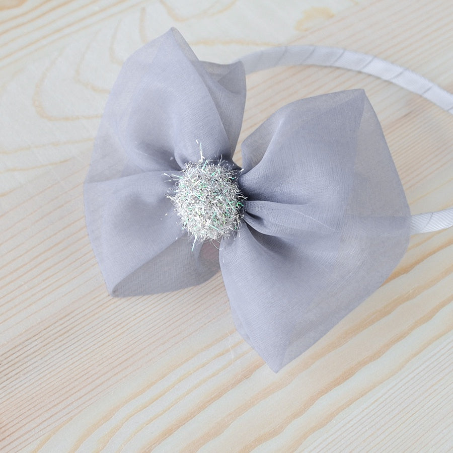Grey Organza Ribbon Headband