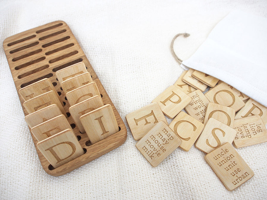 Wooden Uppercase Letters with Holder