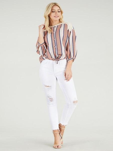 White Mid Rise Destroyed Cropped Skinny Jean