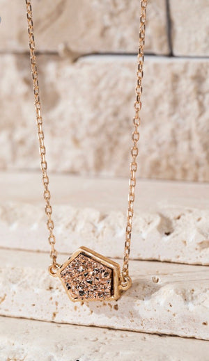 Geometric Faux Druzy Necklace