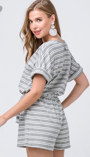Gray Striped Romper