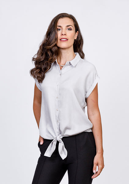 Tie-Front Button-up Blouse