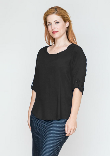 3/4 Sleeve Scoop Blouse