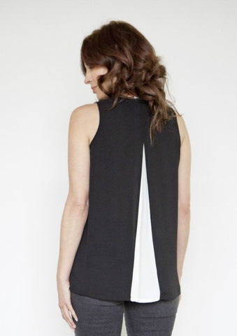 Back-Pleat Sleeveless Blouse