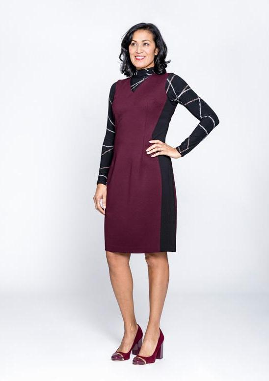 Contrast Panel Sheath Dress